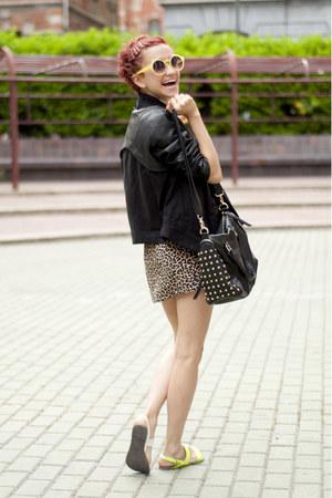 white lavish alice blouse - black romwe jacket - yellow Chicwish sunglasses