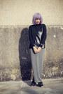 Black-romwe-blouse-heather-gray-romwe-skirt
