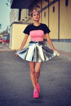 silver spike romwe skirt - bubble gum Primark t-shirt