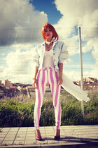 light blue 80s vintage jacket - bubble gum Motel Rocks jeans