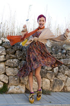 mustard  wedges - carrot orange gifted scarf - purple as dress vintage skirt