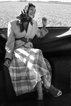brown vintage blazer - ruby red vintage scarf - camel vintage skirt