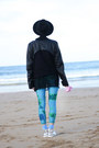 Black-romwe-jacket-turquoise-blue-unitard-we-love-colors-leggings