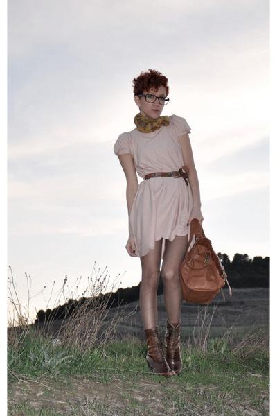 dark brown Vogue boots - light pink DIY dress - tawny BLANCO bag - dark brown vi