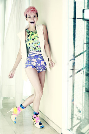 lime green Motel Rocks bodysuit - light purple Boodwah shorts