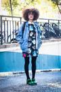 Black-romwe-dress-sky-blue-denim-vintage-jacket-black-backpack-asos-bag