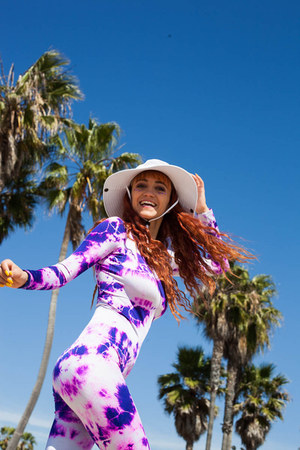 white Local store hat - violet unitard We Love Colors romper
