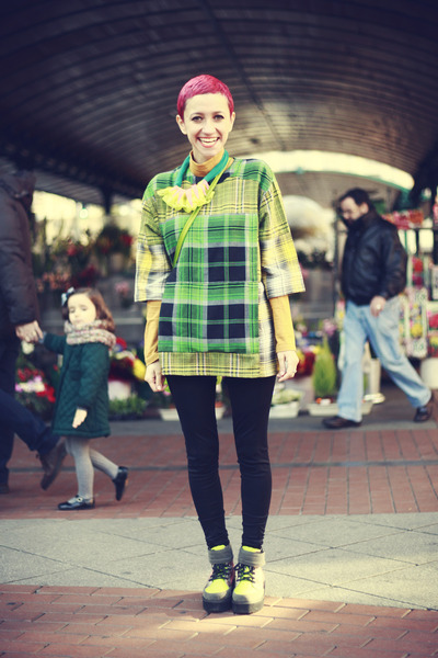 green asos blouse - chartreuse asos boots - yellow DIY necklace