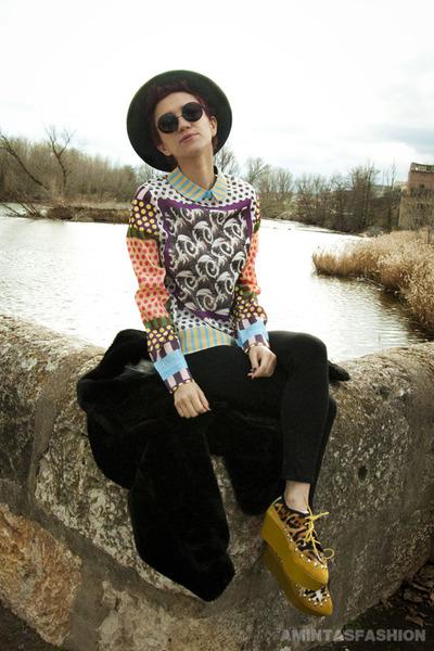light orange Sheinside blouse - black proopticals sunglasses