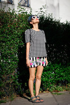 striped Egoist skirt - romwe sunglasses - nowIStyle blouse
