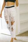White-diy-pepe-jeans-jeans-black-forever-21-bra