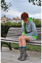 charcoal gray Marypaz boots - neutral lace Zara dress - sky blue Gap jacket - ch
