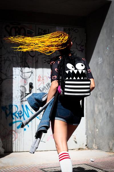 black backpack asos bag - black asos boots - white TPRBT socks