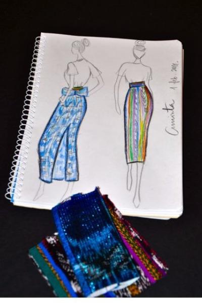 blue handmade skirt