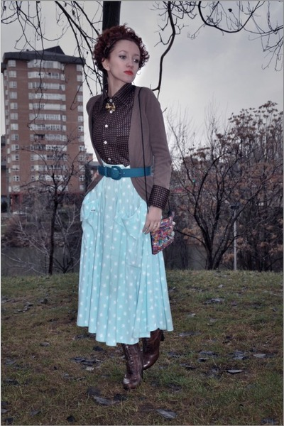 brown Zara cardigan - dark brown vintage blouse - light blue vintage skirt - tur