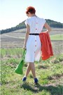 White-vintage-dress-carrot-orange-vintage-blazer-chartreuse-moschino-bag