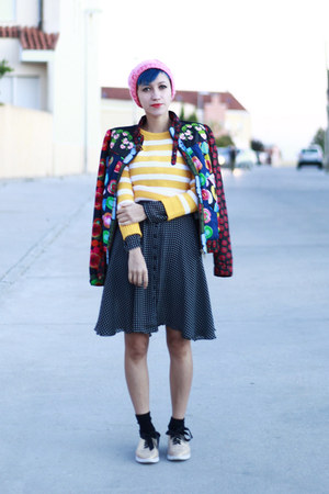 black vintage dress - hot pink Primark hat - chartreuse desigual jacket
