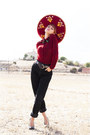 Maroon-mexican-hat-black-pepe-jeans-jeans-ruby-red-vintage-blouse