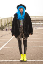 blue wig wonderland wigs hat - chartreuse Sheinside boots