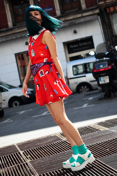 red Minueto dress - white sandals asos shoes