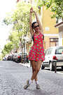 Hot-pink-vintage-romper-silver-meridiano-shoes-flats