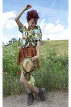 tawny American Apparel skirt - aquamarine printed vintage blouse