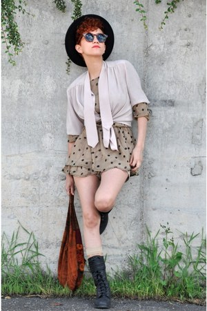 black Marypaz boots - tan random brand dress - black vintage hat - tawny handmad