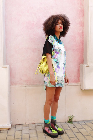 ivory asos blouse - bubble gum asos boots - yellow backpack Chicwish bag