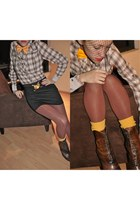 mustard MOTIVOS tie - eggshell BLANCO blouse - brown Vogue boots - brick red Ame