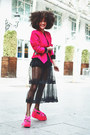 Black-thrifted-dress-hot-pink-thrifted-jacket-black-hot-pants-boodwah-shorts