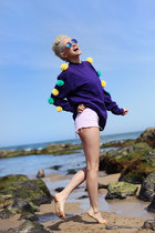 purple DIY sweater - light pink thrifted shorts - blue giant vintage sunglasses