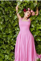 hot pink vintage dress - bubble gum floral crown handmade hat