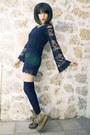 Plaid-robe-vintage-coat-panama-jack-boots-fox-house-dress