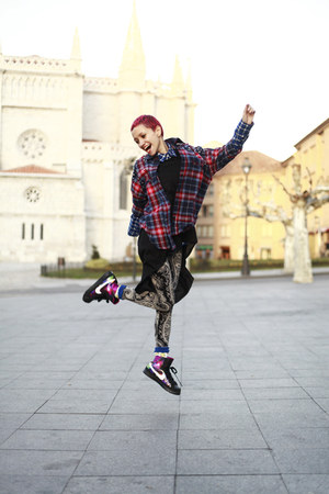 black nike sneakers - ruby red plaid Now I Style shirt - navy Now I Style tights