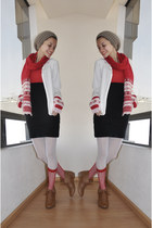 black American Apparel dress - ivory fang cardigan - ruby red gift scarf - beige