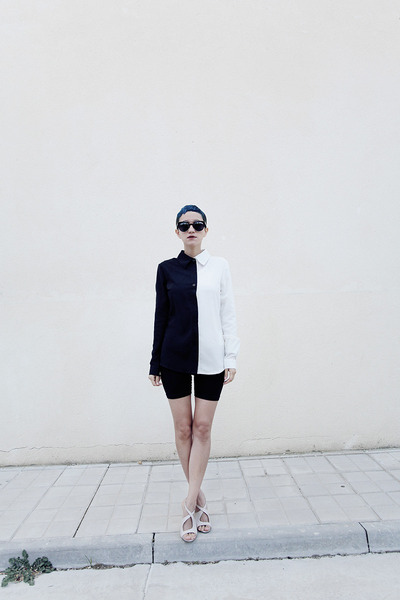 black black and white Romwecom shirt - black giant vintage sunglasses