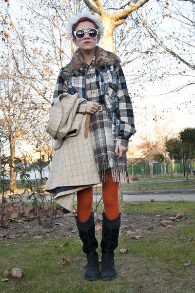 black Timberland boots - black Springfield blouse - beige vintage skirt