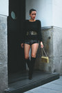 Black-h-m-boots-dark-gray-hot-pants-boodwah-shorts-gold-vintage-belt