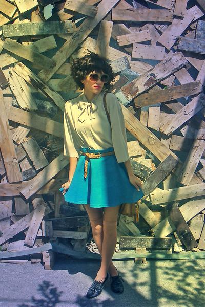 beige vintage blouse - blue American Apparel skirt - beige merona socks - black
