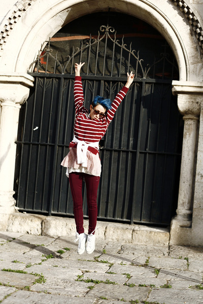 brick red nowIStyle sweater - ruby red Primark pants