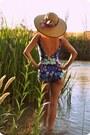 Navy-floral-print-vintage-swimwear-camel-handmade-hat