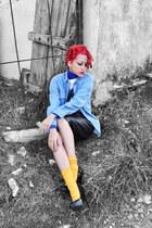 black amintaonline heels - light blue denim thrifted shirt