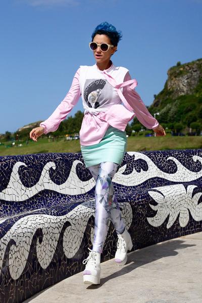 aquamarine leather vintage skirt - light blue romwe leggings