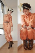 orange vintage jumper - brown Vogue boots - beige vintage scarf - light brown vi