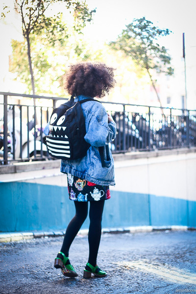 black backpack asos bag - black romwe dress - sky blue denim vintage jacket