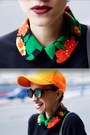 Black-floral-print-now-i-style-suit-carrot-orange-cap-local-shop-hat