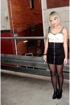 black zip up Style Stalker skirt - black buckle Michael Kors boots