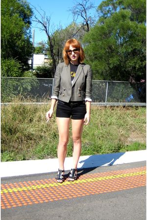 green Topshop blazer - black Pavement band t-shirt - black shorts - black belt -
