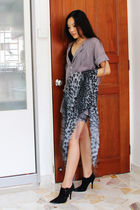 brown thrifted top - blue gmarketcokr shorts - gray thrifted scarf - black Ebay