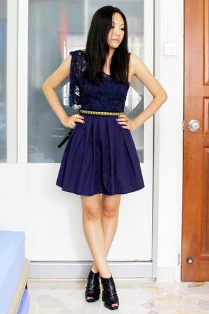 blue thrifted dress - black gmarket shoes - gold departmental store belt - white
